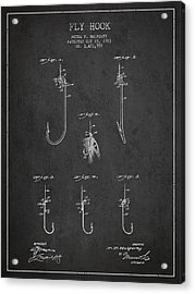 Vintage Fly Hook Patent Drawing From 1923 Acrylic Print by Aged Pixel