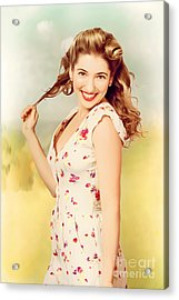 Vintage Pinup Woman With Pretty Make-up And Hair Acrylic Print by Jorgo Photography - Wall Art Gallery