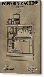 Vintage Popcorn Machine Patent Acrylic Print by Dan Sproul