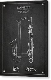 Saxophone Patent Drawing From 1899 - Dark Acrylic Print by Aged Pixel