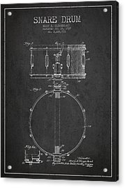 Snare Drum Patent Drawing From 1939 - Dark Acrylic Print by Aged Pixel