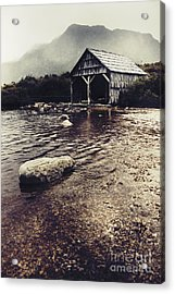 Vintage Style Landscape Of A Rustic Boat Shed Acrylic Print by Jorgo Photography - Wall Art Gallery