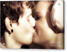 Vintage Wedding Kiss Acrylic Print by Jorgo Photography - Wall Art Gallery