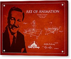 Walt Disney Patent From 1936 Acrylic Print by Aged Pixel