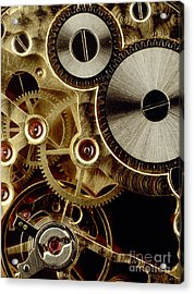 Watch Mechanism. Close-up Acrylic Print by Bernard Jaubert