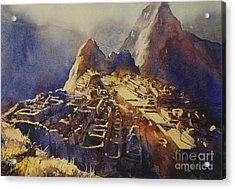 Watercolor Painting Machu Picchu Peru Acrylic Print by Ryan Fox
