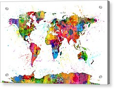 Watercolor Political Map Of The World Acrylic Print by Michael Tompsett