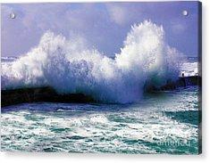 Wild Waves In Cornwall Acrylic Print by Terri Waters