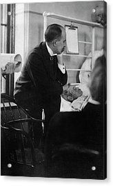 William Osler Attending A Patient Acrylic Print by National Library Of Medicine