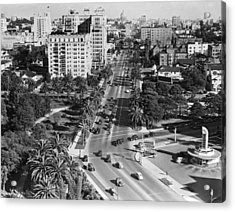 Wilshire Boulevard In La Acrylic Print by Underwood Archives