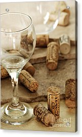 Wine Glass And Corks Acrylic Print by HD Connelly