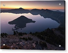 Wizard Island At Dawn, Crater Lake Acrylic Print by William Sutton