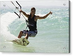 Woman Kitesurfing In Costa De La Luz Acrylic Print by Marcos Welsh