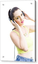 Woman Listening To Music Acrylic Print by Jorgo Photography - Wall Art Gallery