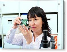 Woman Making A Micro Processor Acrylic Print by Wladimir Bulgar