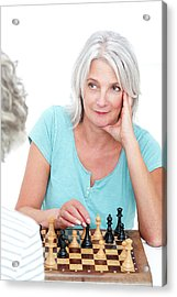Woman Playing Chess Acrylic Print by Lea Paterson