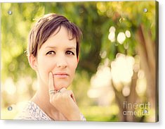 Woman Thinking At Rural Setting.  Green Idea Acrylic Print by Jorgo Photography - Wall Art Gallery