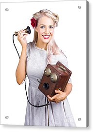 Woman Using Antique Telephone Acrylic Print by Jorgo Photography - Wall Art Gallery