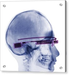 Woman Wearing Google Glass X-ray Acrylic Print by Ted Kinsman