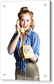 Woman With Retro Telephone Acrylic Print by Jorgo Photography - Wall Art Gallery