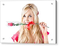 Woman With Rose Between Teeth Acrylic Print by Jorgo Photography - Wall Art Gallery
