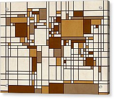 World Map Abstract Mondrian Style Acrylic Print by Michael Tompsett