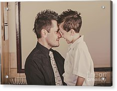 Young Dad And Little Boy Showing Affection Acrylic Print by Jorgo Photography - Wall Art Gallery
