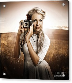 Young Female Photographer With Vintage Camera Acrylic Print by Jorgo Photography - Wall Art Gallery