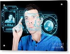 Young Man Using Futuristic Virtual Interface Acrylic Print by Jorgo Photography - Wall Art Gallery