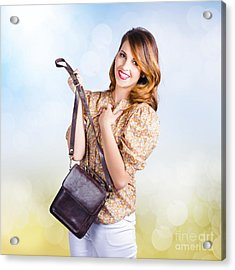 Young Retro Fashion Model Holding Leather Handbag Acrylic Print by Jorgo Photography - Wall Art Gallery