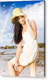 Young Woman Relaxing By The Sea Acrylic Print by Jorgo Photography - Wall Art Gallery