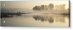 Panorama Landscape Of Lake In Mist With Sun Glow At Sunrise Acrylic Print by Matthew Gibson