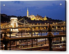 Budapest By Night Acrylic Print by Odon Czintos