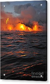 Steam Rising Off Lava Flowing Into Ocean Acrylic Print by Sami Sarkis