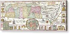 1632 Tirinus Map Of The Holy Land Acrylic Print by Paul Fearn