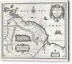 1635 Blaeu Map Guiana Venezuela And El Dorado Acrylic Print by Paul Fearn