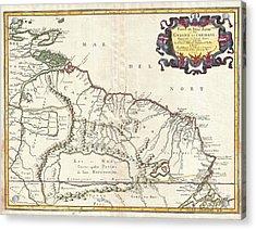 1656 Sanson Map Of Guiana Venezuela And El Dorado Acrylic Print by Paul Fearn