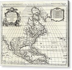 1708 De Lisle Map Of North America Acrylic Print by Paul Fearn