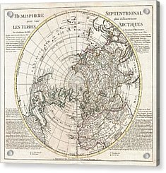 1741 Covens And Mortier Map Of The Northern Hemisphere  North Pole Arctic Acrylic Print by Paul Fearn