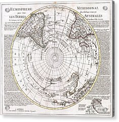 1741 Covens And Mortier Map Of The Southern Hemisphere South Pole Antarctic Acrylic Print by Paul Fearn