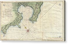 1745 Anson Map Or Chart Of Zihuatanejo Harbor Mexico Acrylic Print by Paul Fearn