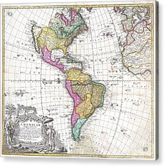 1746 Homann Heirs Map Of South And North America Acrylic Print by Paul Fearn