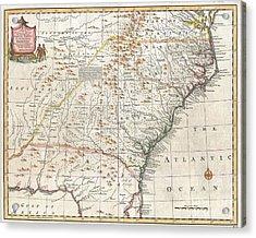 1747 Bowen Map Of The Southeastern United States Carolina Georgia Florida Acrylic Print by Paul Fearn