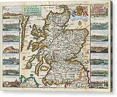 1747 La Feuille Map Of Scotland  Acrylic Print by Paul Fearn