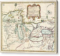 1755 Bellin Map Of The Great Lakes Acrylic Print by Paul Fearn