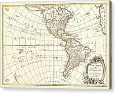 1762 Janvier Map Of North America And South America  Acrylic Print by Paul Fearn