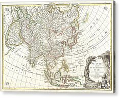 1770 Janvier Map Of Asia Acrylic Print by Paul Fearn