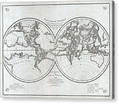 1779 Pallas And Mentelle Map Of The Physical World  Acrylic Print by Paul Fearn