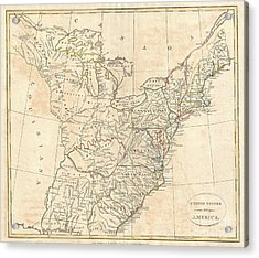1799 Cruttwell Map Of The United States Of America Acrylic Print by Paul Fearn