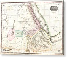 1818 Pinkerton Map Of Nubia Sudan And Abyssinia Acrylic Print by Paul Fearn